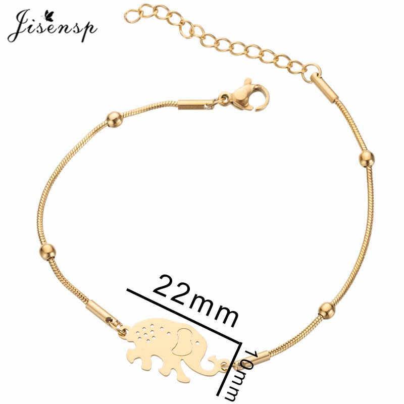 Jisensp נירוסטה צמיד הודי סגנון זהב צבע יפה פיל קסם צמיד תכשיטים לנשים גברים bijoux