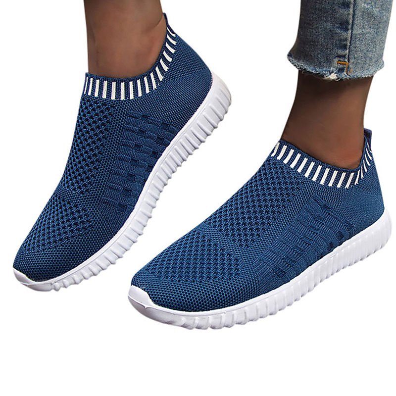 Women's Shoes Spring Knitting Mesh Breathable Plus Size 43 Slip On Casual Woman Sneakers Trainers Tennis Woman 2020 New