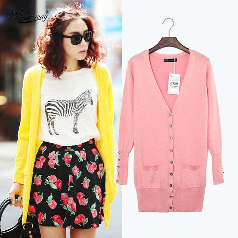 Quality Guarantee Spring Autumn Women Shell Button Brand Cardigan Long Casual Slim Cotton Solid Knitwear B-004