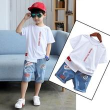 2021 New Summer Children Clothing Boys Set 4 6 8 9 10 12 Years Short Sleeve Letter Shirt Jeans Shorts Teenage Kids Boy Set
