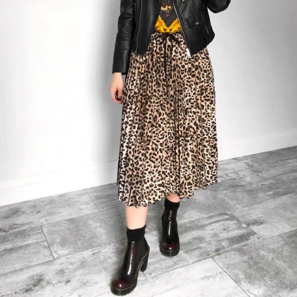 Vintage Leopard Print Pleated Skirt Women Punk Rock Korean Skirt Streetwear Drawstring Elastic Waist Lady Midi Skirts Jupe Femme