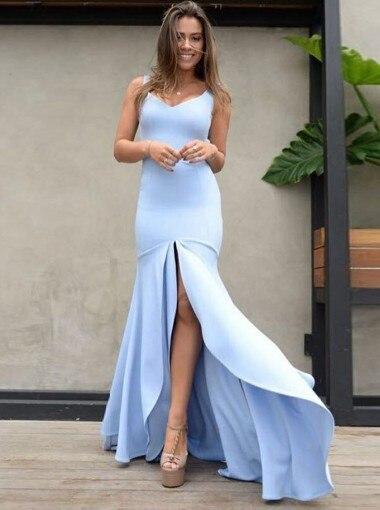 Mermaid Prom Dress Scoop Backless Blue Satin Prom Dress With Split