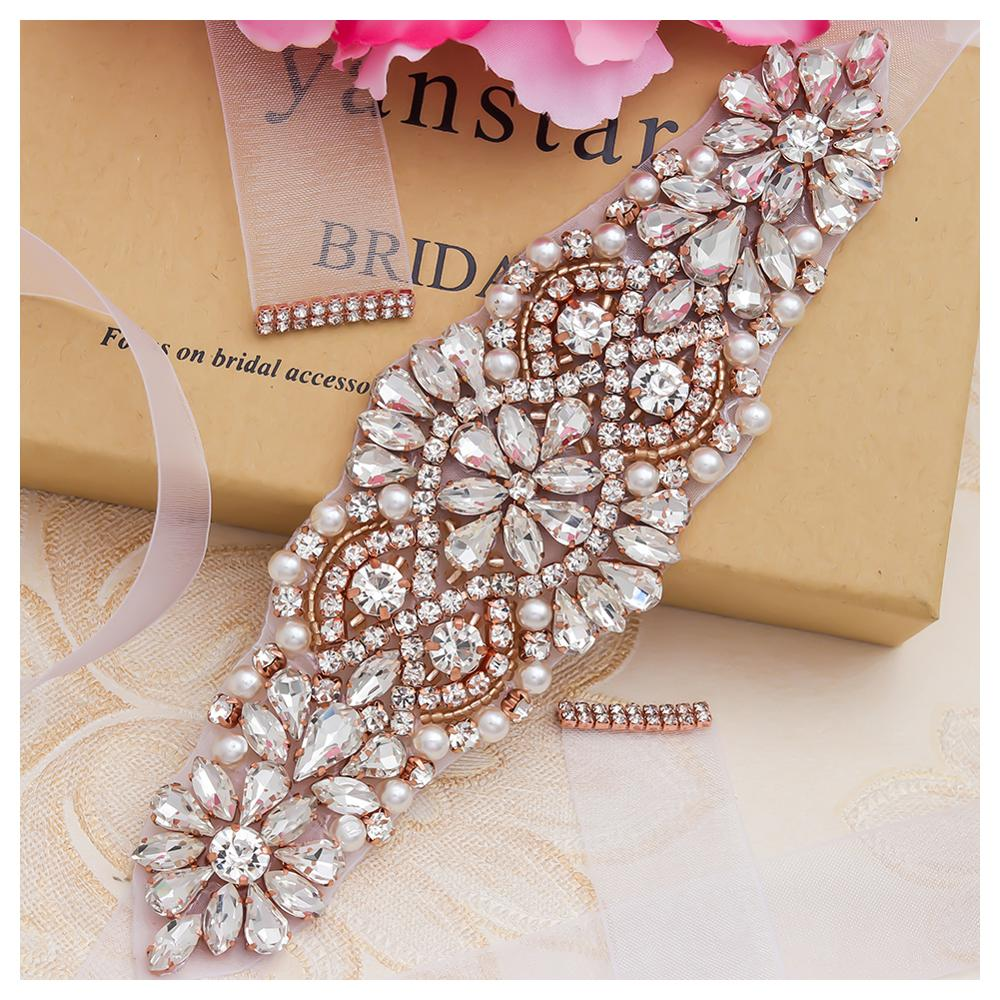 MissRDress Pearls Wedding Belt Dress Rose Gold Crystal Bridal Belt Rhinestones Wedding Sash For Bridal Bridesmaid