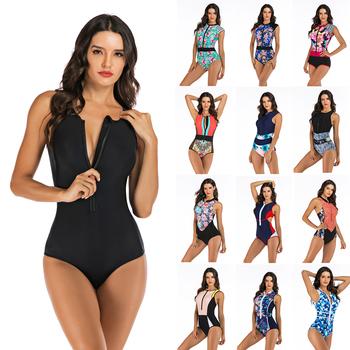 Profesjonalne stroje kąpielowe jednoczęściowy strój kąpielowy kobiety Zipper Monokini strój kąpielowy body sportowe strój kąpielowy pływać tanie i dobre opinie Ryanye Poliester spandex WOMEN Drukuj Jeden sztuk Pasuje prawda na wymiar weź swój normalny rozmiar ANH-35