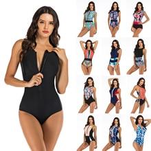 Professional Swimwear One Piece Swimsuit Women Zipper Monokini Swimsuit Sport Bodysuit Beach Bathing Suit Swim