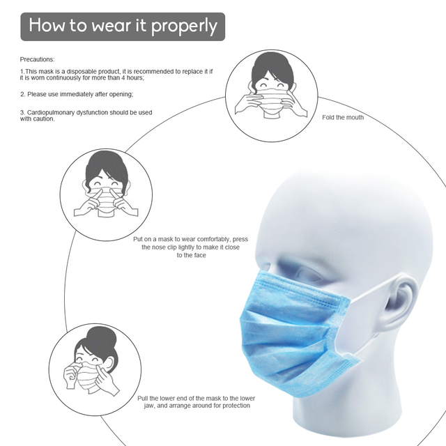 50pcs/ Lot Germ Bacteria Mouth Mask Disposable Blue Non-woven 3-layer Anti Flu Fog Dust-proof Masks Safe Breath 5