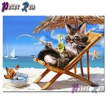 5d алмазная живопись кот Рыбалка на пляже Алмазная вышивка своими