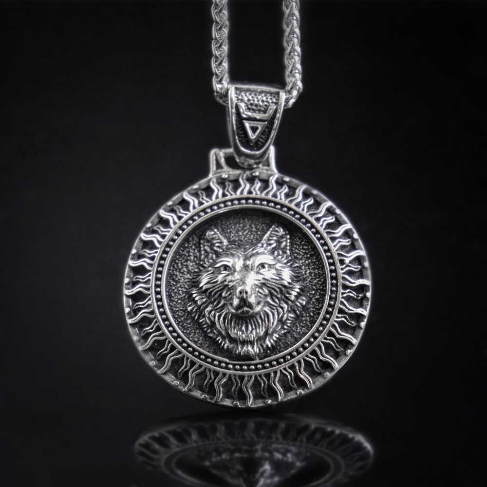EYHIMD İskandinav siyah güneş Veles kurt paslanmaz çelik kolye Viking Rune tılsım slav İskandinav muska takı