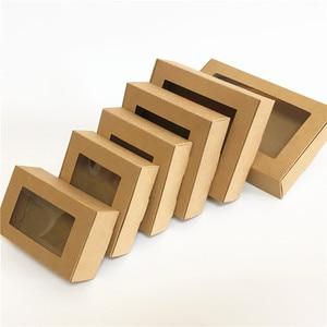 30 шт Чистая крафт-бумага подарочная коробка с окном мыло ручной работы в коробке ювелирные изделия печенье в подарок коробка конфет Свадебн...