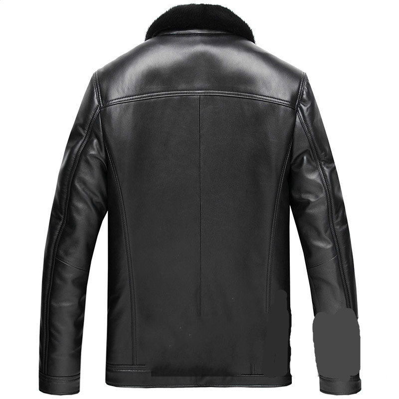 Genuine Leather Jacket Men Sheepskin Real Leather Jacket Mink Fur Coat Plus Size Mens Winter Leather Jacket Casaco SD9052 YY1141