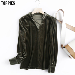 Toppies Vintage Velour Shirts Woman Long Sleeve V-Neck Blouses Tops Leisure Clothes 2020