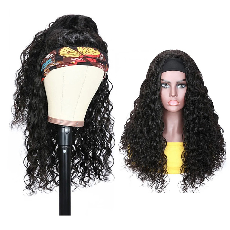 Bestsojoy 100% Human Hair Wigs for Black Women Headband Scarf Wig Glueless Water Wave Human Hair Wigs With Headband Remy