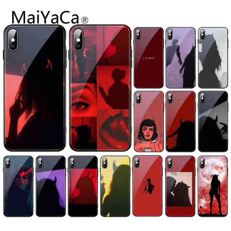 MaiYaCa Devil woman iPhone XR XS MAX X 7 8 6S Plus 11 11Pro 11Pro max Coque Shell 용 새로 도착한 강화 유리 전화 케이스