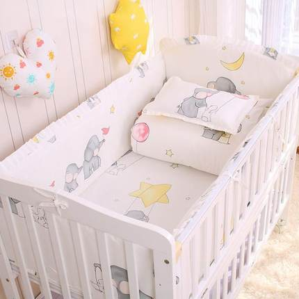 6/9pcs Elephant Baby Bedding Set Cotton Bedroom Decor Baby Girl Boy Crib Bed Linens Bed Bumper 120*60/120*70cm