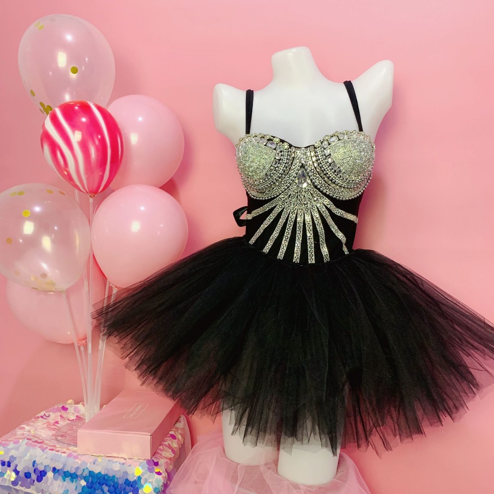 Fashion Silver Rhinestones Black Bodysuit Short Skirt Outfit Set Cloak Birthday Dance Outfit Women Singer Bar Outfit Set