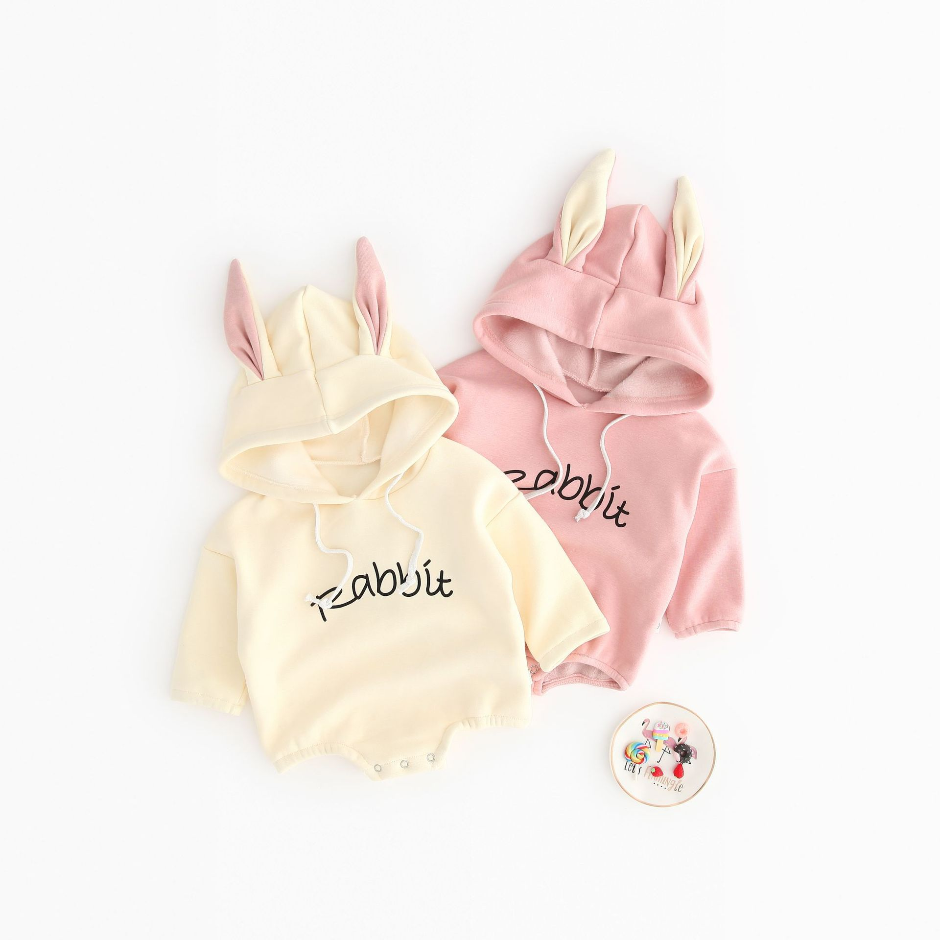INS Hot Selling Thin Cashmere BABY'S Romper Bunny Ear Cute Onesie Korean Style Climb