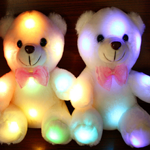 New Plush Toy Colorful LED Glowing Small Bear Stuffed Doll Night Light Animals Toys for Kids Dropshipping ( Not Battery )