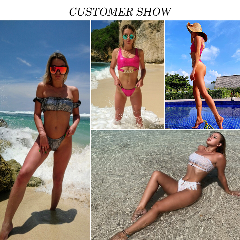 Silver snake bikini push up Sexy swimsuit women Neon swimwear 2020 female New chain bathing suit Brazilian bathers biquini Mujer 2
