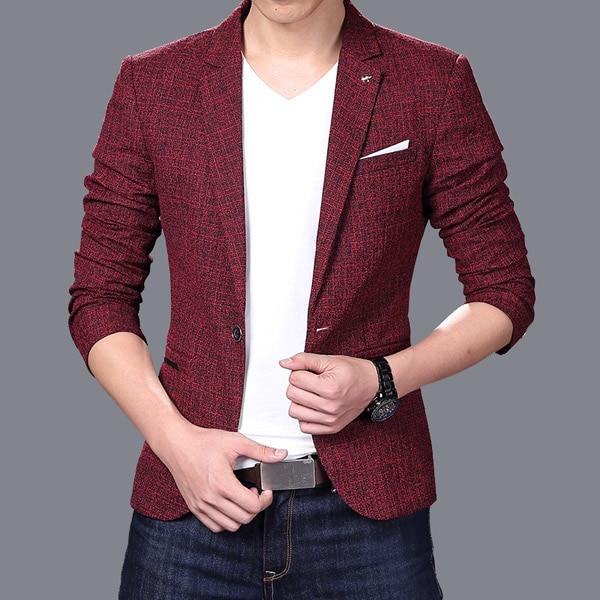 Men Slim Autumn Suit Blazer Formal Business Fashion Male Suit One Button Lapel Casual Long Sleeve Pockets Top Blazers