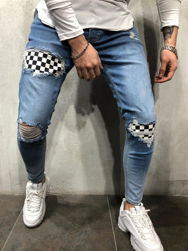 Mens Cool Designer Brand Pencil Jeans Skinny Ripped Destroyed Stretch Slim Fit Hop Hop Pants With Holes For Men Jeans Grid