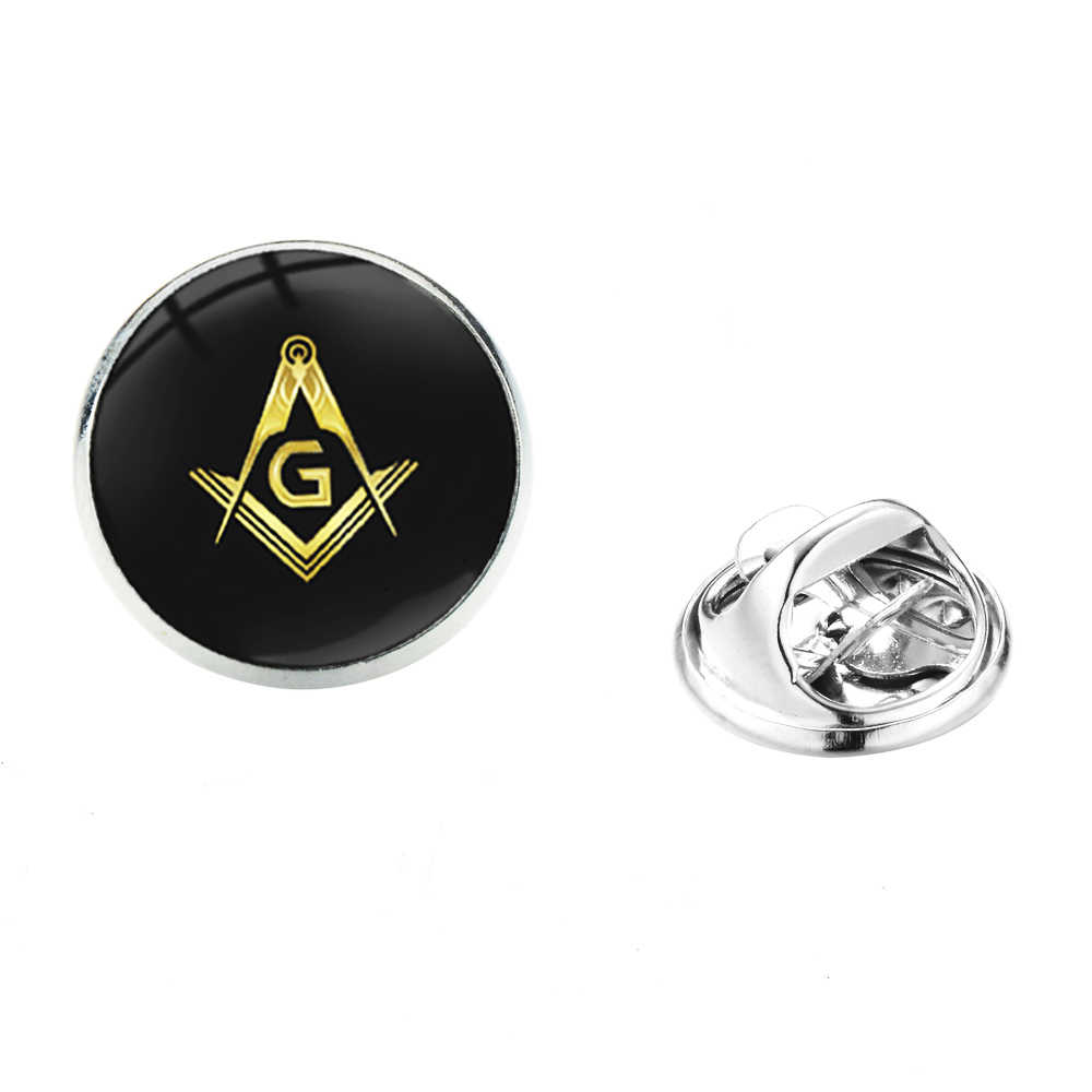 Broche masón masónico de acero inoxidable con diseño de brújula y cuadrados de Masonería clásica, PIN para solapa de traje de cristal, insignia de caballero
