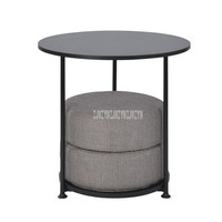 55cm Nordic Round Table With 2PCS Floor Seat Cushion Modern Simple Design Tea Coffee Table Wood Desktop Carbon Steel Bracket