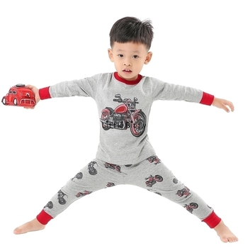 100 Cotton Boys and Girls Long Sleeve Pajamas Sets Children's Sleepwear Kids Christmas Pijamas Infantil Homewear Nightwear - PA05, 6