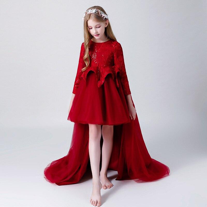 Children Catwalks Formal Dress GIRL'S Gown Model Wine Dresses Of Bride Fellow Kids Women's Tailing Piano Performance Wear