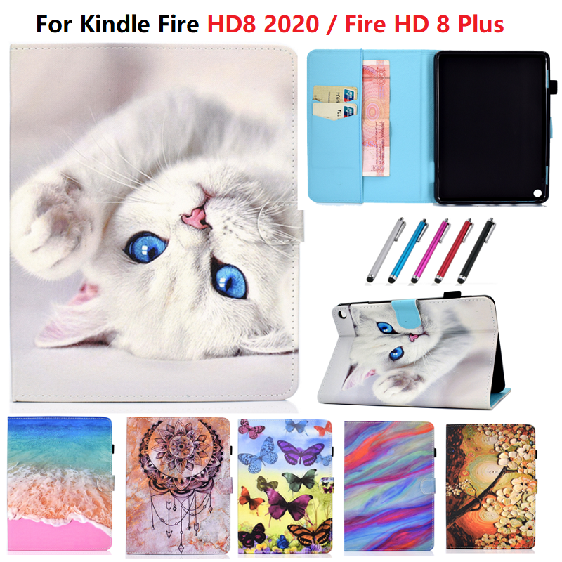 Lovely Cat Cover For Amazon Kindle Fire HD 8 Case 2020 Fundas Tablet For HD 8 Plus Cover 8.0 inch E-book Reader Skin Coque Pen(China)