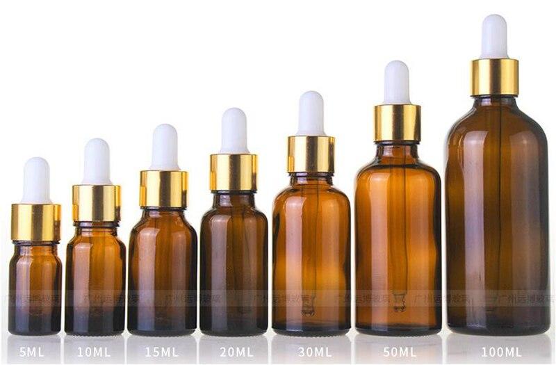 Оптовая продажа 5 мл 10 мл 15 мл 20 мл 25 мл 30 мл 50 мл 100 мл бутылка капельница из янтарного стекла пустые косметические бутылки для эфирного масла
