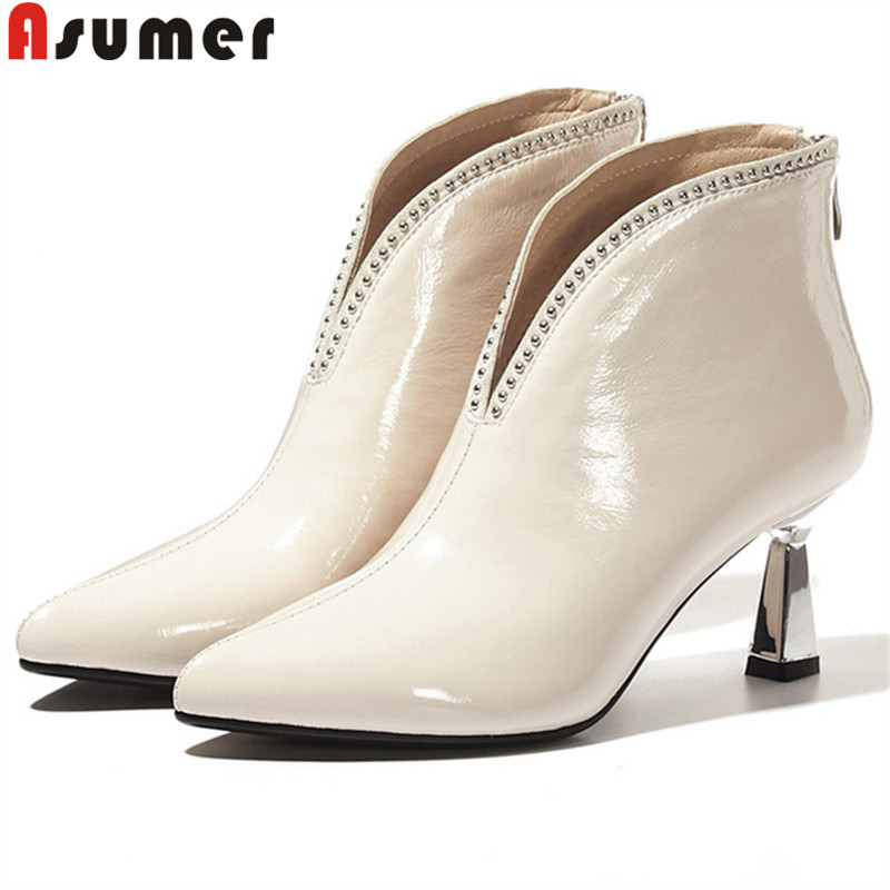 ASUMER Ankle-Boots Shoes Pointed-Toe High-Heels Autumn Women Ladies Zip Winter for Classic