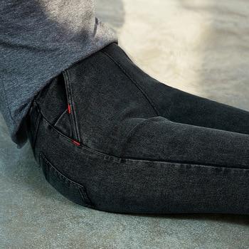 black elastic skinny pencil jeans high waist