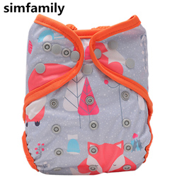 [simfamily]1PC Washable Cloth Diaper Cover Adjustable Double Gusset Reusable Simfamily cloth diapers fraldas Nappy Suit 3-15kgs