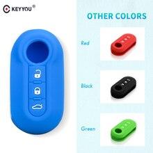 Keyyou 실리콘 자동차 키 커버 피아트 500 3 버튼 플립 원격 키 쉘 빈 커버에 적합 새로운 도착