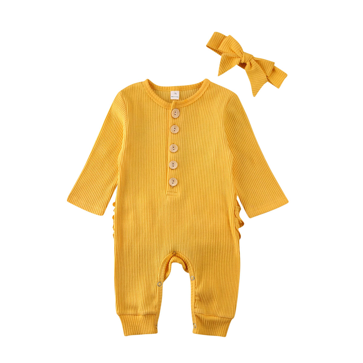 2020 Brand New Newborn Toddler Baby Boy Girls Romper Jumpsuit Playsuit Knitted Headband Outfits Set 0-18M