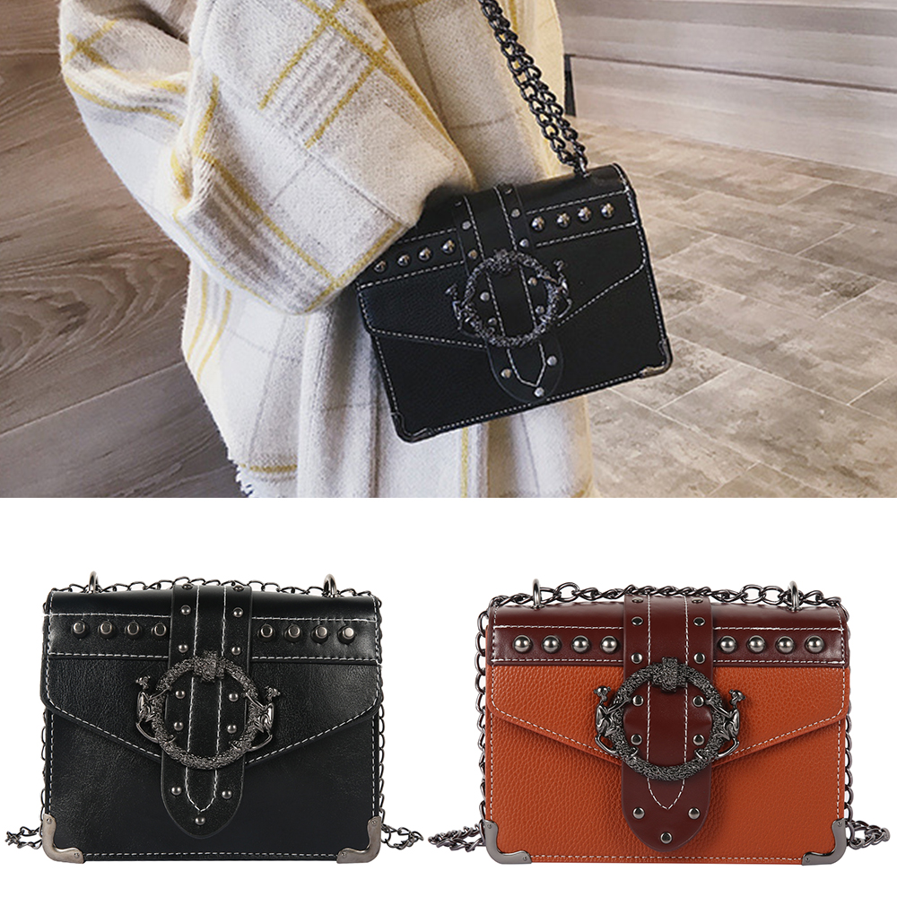 European Fashion Square Crossbody Bag 2019 New PU Leather Women's Designer Handbag Rivet Lock Chain Shoulder Messenger Bags