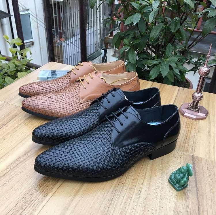 Moda masculina vestido sapatos de couro genuíno apontou toe clássico masculino formal oxford negócios flat office sapatos feitos à mão