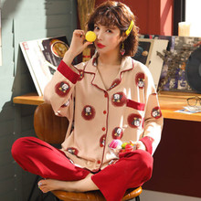 Pajamas womens spring and autumn pure cotton long sleeve all Korean version big size lovely sweet girl home clothes Set
