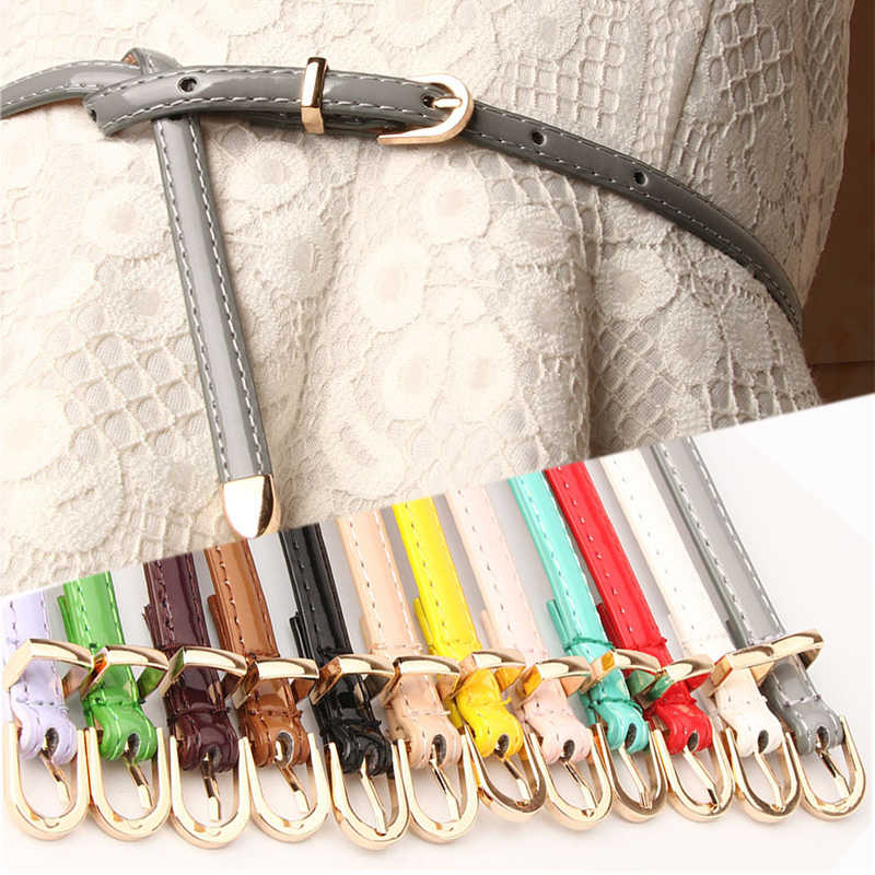 Women Candy Color Thin Skinny Waistband Faux Leather Belts Adjustable Belts Female Basic Dress Straps inturon Mujer