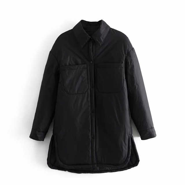 Za Women's Jackets Oversize Parkas Thin Coats Khaki Shirt Coat Long Femme BF Long Sleeves Big Pockets Outerwear Mujer Large Coat 6