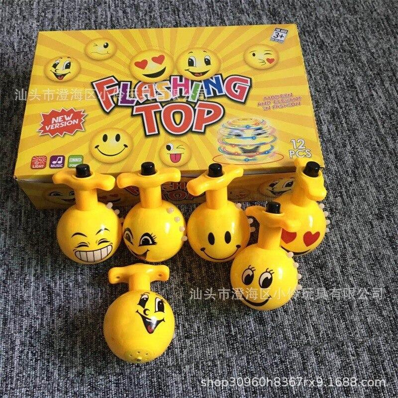 Kinder Spielzeug Gyro Elektrische Bunte Licht Musik Cartoon Flash Musik Spinner Stall Nacht Markt Heißer Verkauf