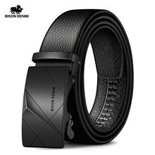 BISON DENIM Cow Genuine Leather Mens Belt Cowskin Strap for Male Automatic Buckle Belts for Men Alloy Buckle Belts N71477