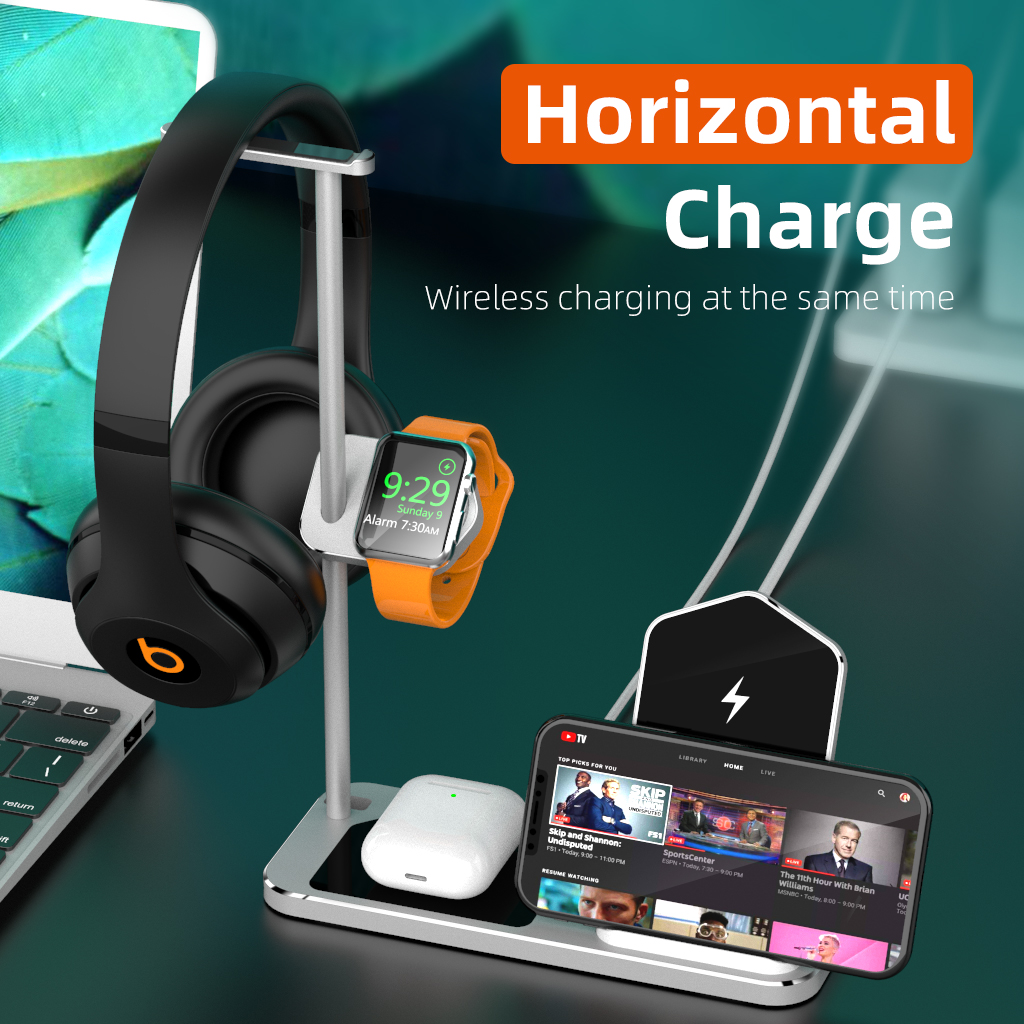 4 3 in 1 QI Wireless Charger Base for Apple iPhone Charging Dock 18W Fast Wireless Charger Stand for Apple Watch Airpods Pro Max|Wireless Chargers| |  - title=