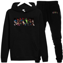 The latest super hero MARVEL sportswear mens warm suit thick wool hoodie +pants sports casual