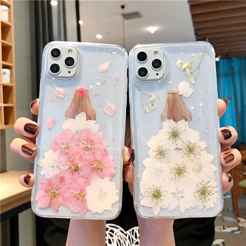 Soft Tpu Cover For Iphone Xr Case Real Pressed Dried Flower Dress