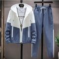 2021 casual fall/winter men's suit patchwork hip-hop college style Korean version 2 pieces of streetwear fitness men's sportswea