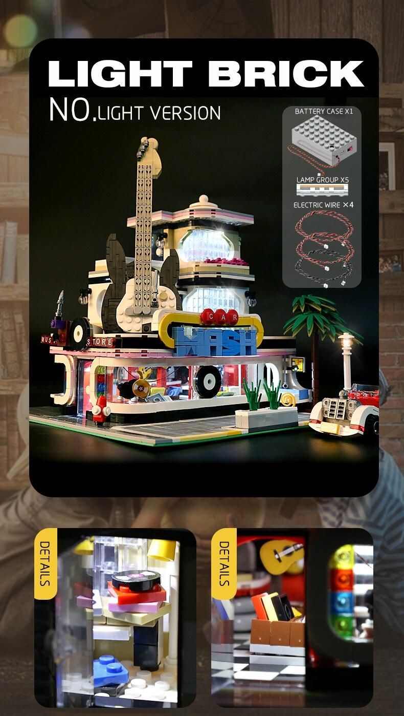 2168PCS Guitarra City Street Shop blocos de construção brinquedo de tijolos modelo Set Light