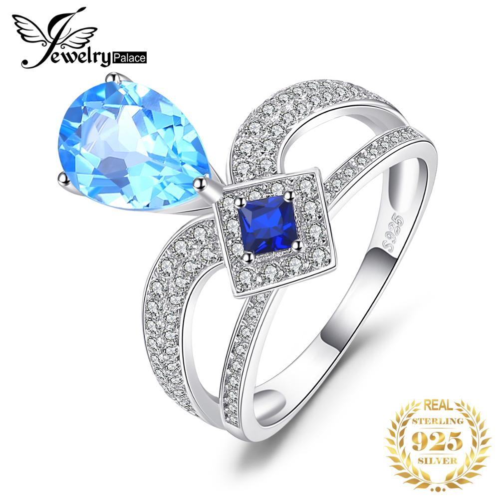 JewelryPalace Regal 6,3 ct Birne Blau Topas Prinzessin Cut Erstellt Blau Spinell Cooktail Ring 925 Sterling Silber