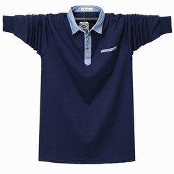 Tamanho grande bolsos de negócios de pouco peso camisa de lapela masculina outono e inverno nova camisa polo de manga comprida plus size