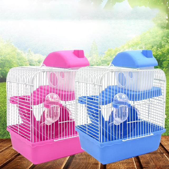 2-storey Pet Hamster Cage With Running Wheel Drinking Water Bottle Food Basin Castle For Small Pet House Mice Home Habitat Decor